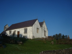Llansadwrn Church- just look at that blue sky!
