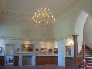 David's paintings setting off the new panelling, chandelier and plasterwork in the mansion perfectly.