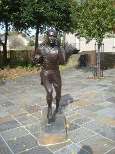 Statue of rugby player Ken Jones OBE  in Blaenavon town