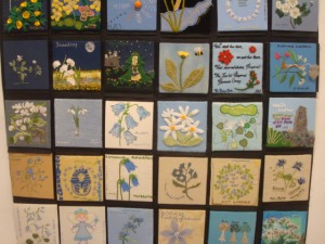 In the gallery there was a display of meadow plants sewn in patchwork- beautiful!